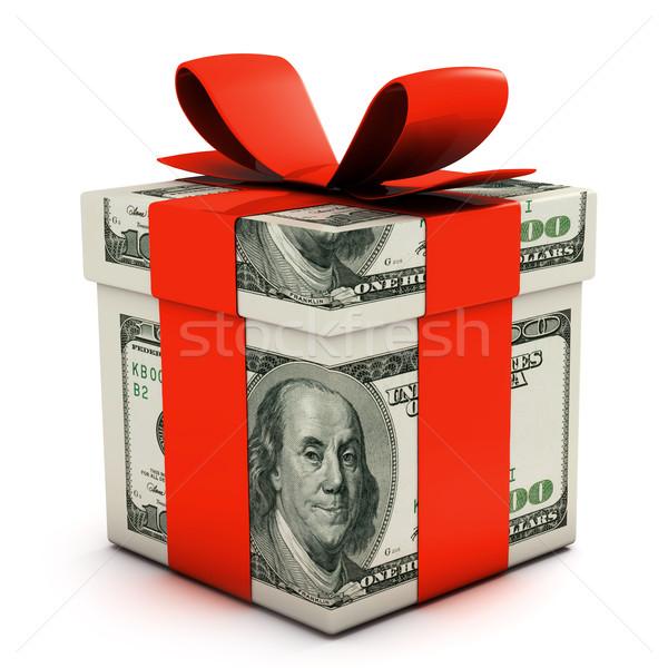 ギフトボックス ドル 孤立した 白 リボン ストックフォト © goir