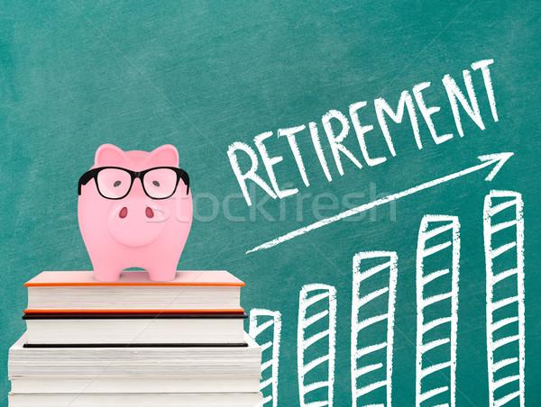 Retirement chart and piggy bank Stock photo © goir