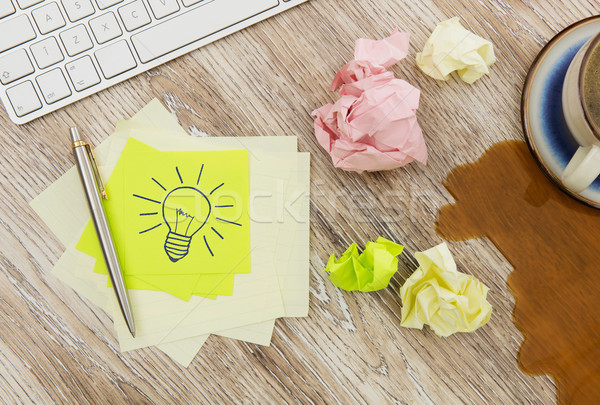 Adhesive notes with lightbulb drawing Stock photo © goir
