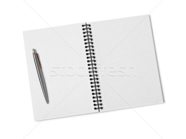 Ring papier pen onderwijs notebook schone Stockfoto © goir