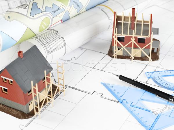 Bâtiment planification blueprints maison structure design Photo stock © goir