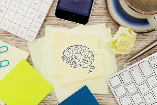 Cervello disegnare adesivo nota desk carta Foto d'archivio © goir