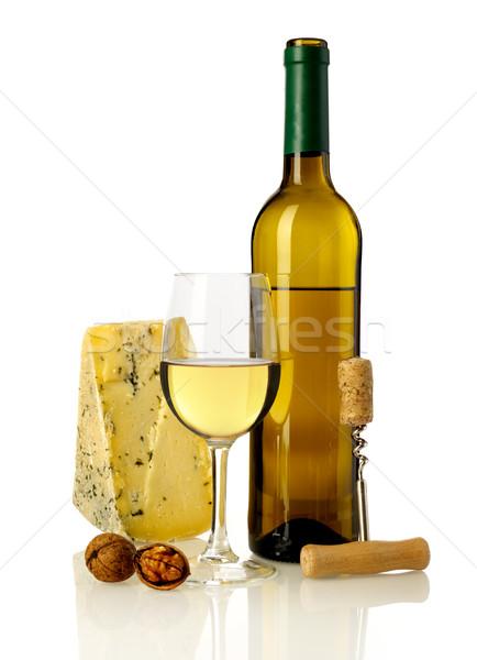 белое вино сыра изолированный белый пить бутылку вина Сток-фото © goir