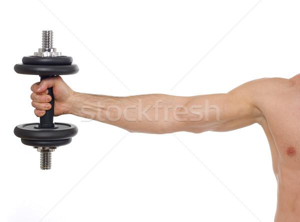 Ağırlıklar adam beyaz atlet yalıtılmış Stok fotoğraf © goir