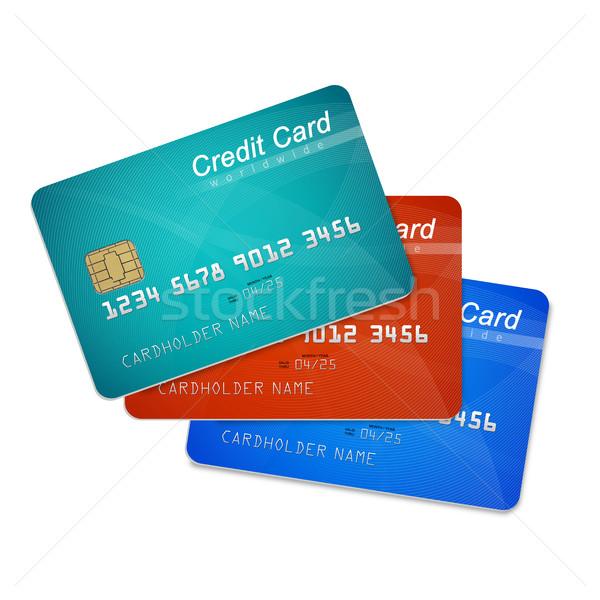 Creditcards geïsoleerd witte financieren gegevens creditcard Stockfoto © goir
