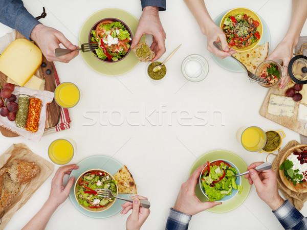 Boven tafel tabel mensen Stockfoto © goir