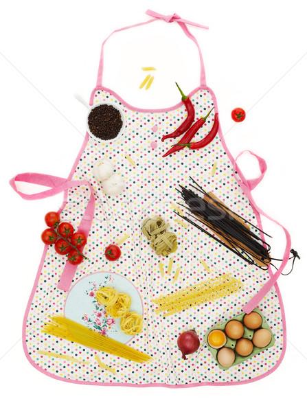 Stockfoto: Voedselbereiding · keuken · schort · koken · ingrediënten · witte