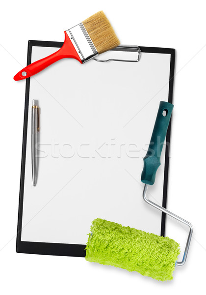 Clipboard with painting tools Stock photo © goir