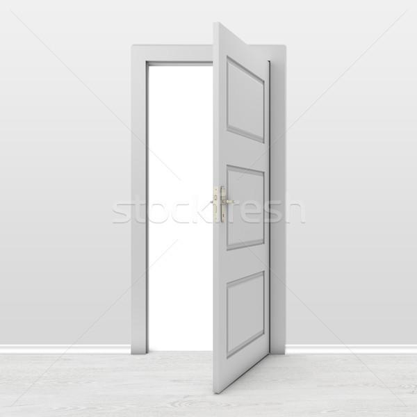 Nyitott ajtó szoba ajtó szabadság fehér fehér háttér Stock fotó © goir