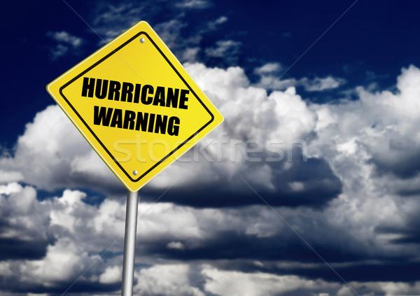 Hurrikán figyelmeztetés jelzőtábla természet felirat felhő Stock fotó © goir