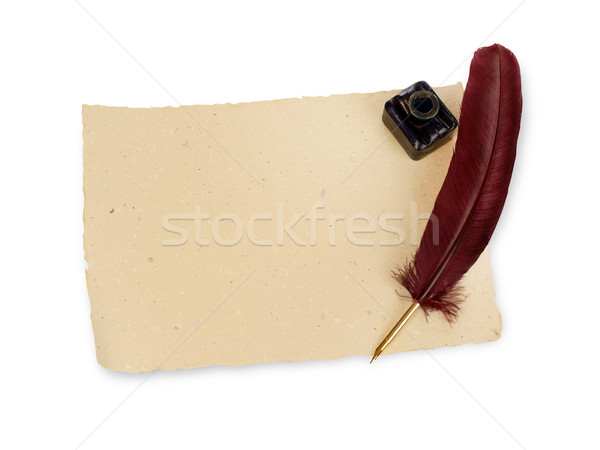Quill, manuscript and ink well Stock photo © goir