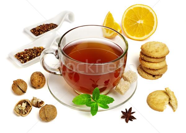 Сток-фото: зима · чай · изолированный · белый · Cookie · кружка