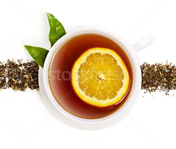 Сток-фото: Кубок · чай · оранжевый · Ломтики · изолированный