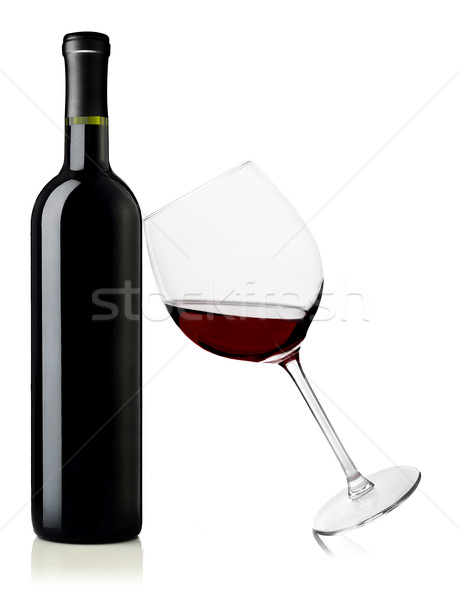 Red wine bottle and glass Stock photo © goir