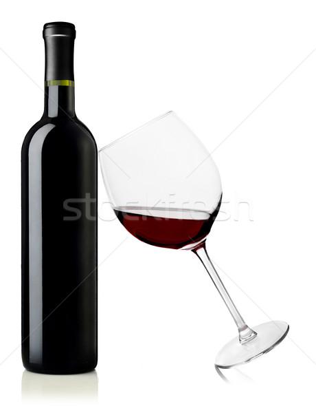 Vin rouge bouteille verre blanche vin rouge Photo stock © goir
