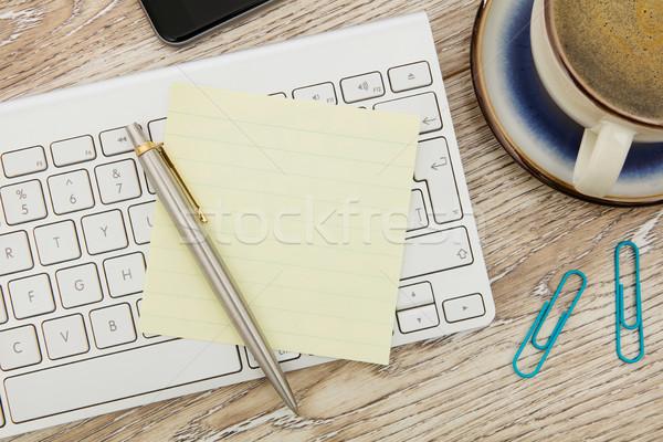 Adhesive note on desk Stock photo © goir