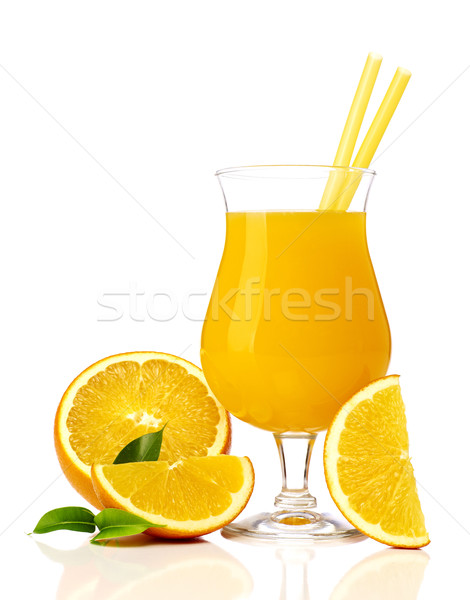 Photo stock: Jus · jus · d'orange · orange · tranches · isolé · blanche
