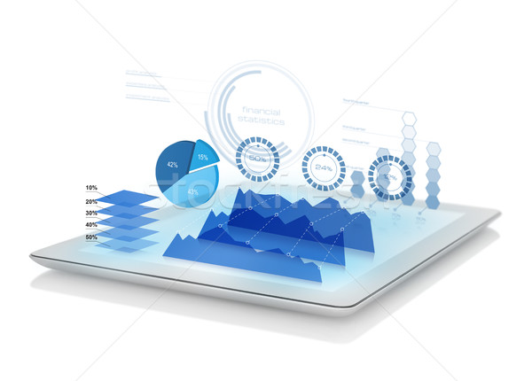 Diagrams projecting from tablet Stock photo © goir