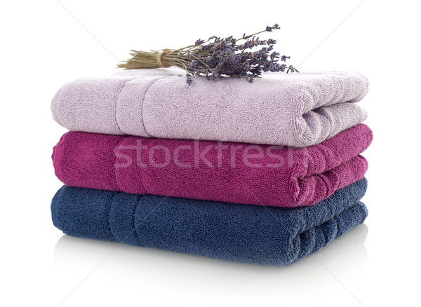Foto stock: Limpar · toalhas · lavanda · isolado · branco