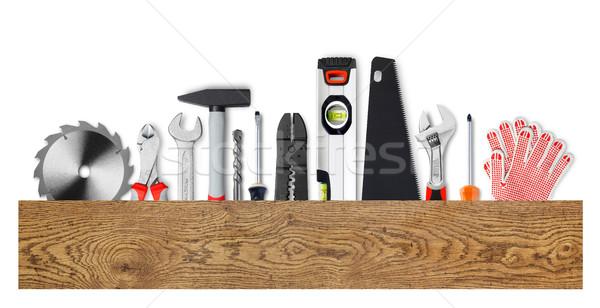Werk tools hout boord geïsoleerd Stockfoto © goir