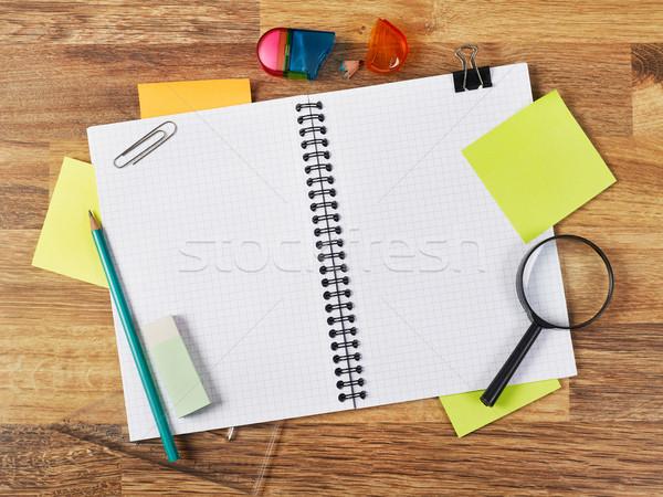 Notebook tanszerek készlet fehér toll ceruza Stock fotó © goir