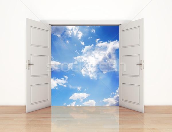 Open deuren hemel leidend huis deur Stockfoto © goir