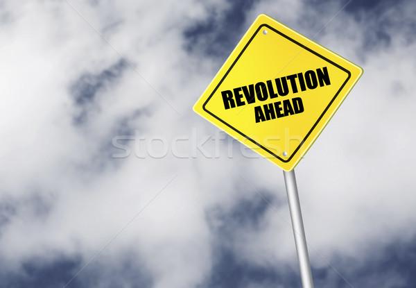 Revolução à frente assinar céu nuvem escuro Foto stock © goir