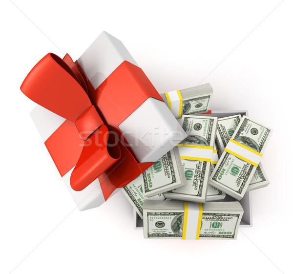 Geschenkdoos vol dollar dollar bankbiljetten geïsoleerd Stockfoto © goir