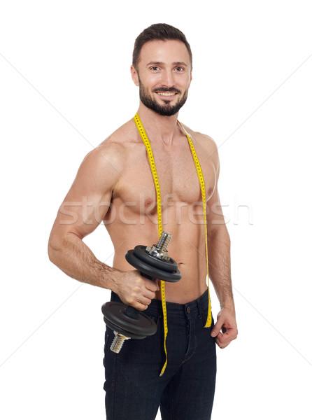 筋肉の 男 重み リンゴ 巻き尺 孤立した ストックフォト © goir