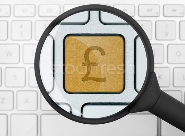 Funt ikona lupą komputera kluczowych Internetu Zdjęcia stock © goir