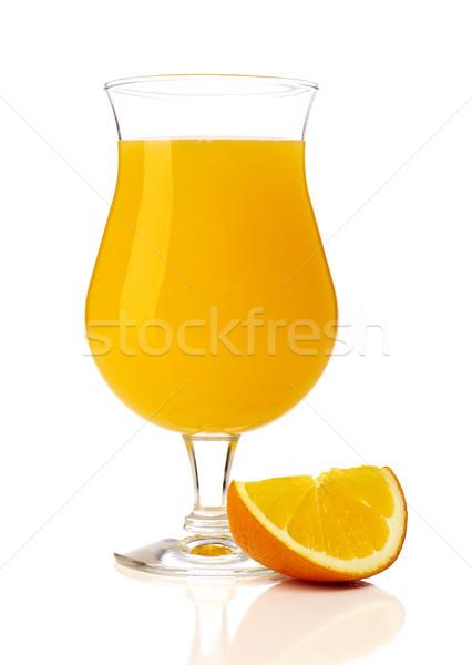 Sok pomarańczowy pomarańczowy plasterka odizolowany biały lata alkoholu Zdjęcia stock © goir