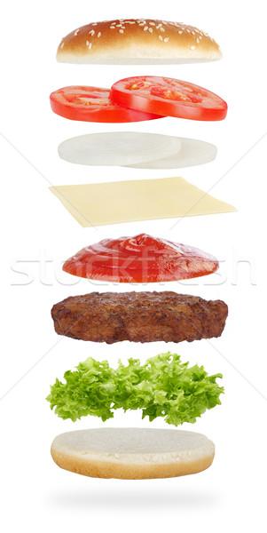 Stockfoto: Hamburger · ingrediënten · geïsoleerd · witte · vlees · lunch