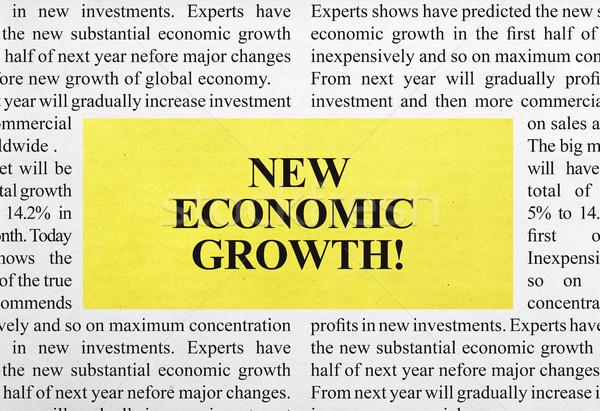 Nowego ekonomiczny wzrostu ogłoszenie gazety kopia przestrzeń Zdjęcia stock © goir
