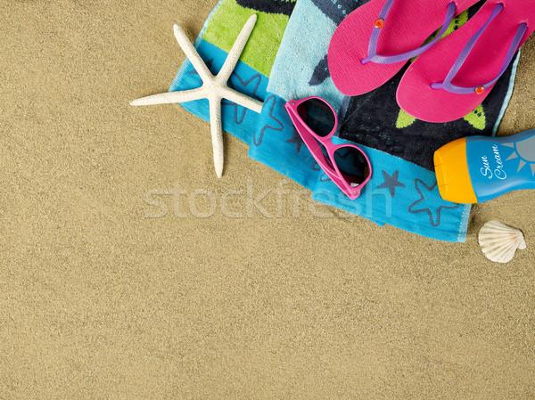 ストックフォト: ビーチ · コピースペース · ビーチタオル · ヒトデ · サングラス · 太陽