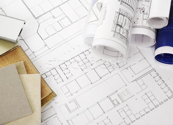 Blauwdrukken bouwmaterialen kantoor potlood industrie document Stockfoto © goir
