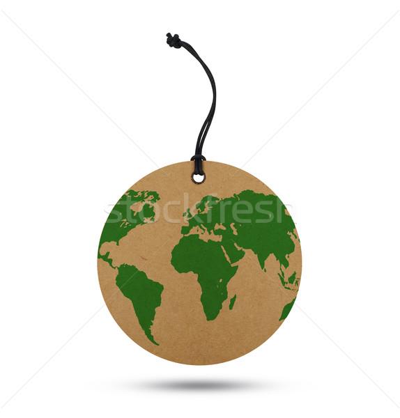 Mapa do mundo etiqueta isolado branco referência mapa Foto stock © goir