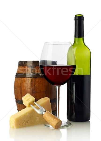 赤ワイン チーズ ワイン バレル 孤立した 白 ストックフォト © goir