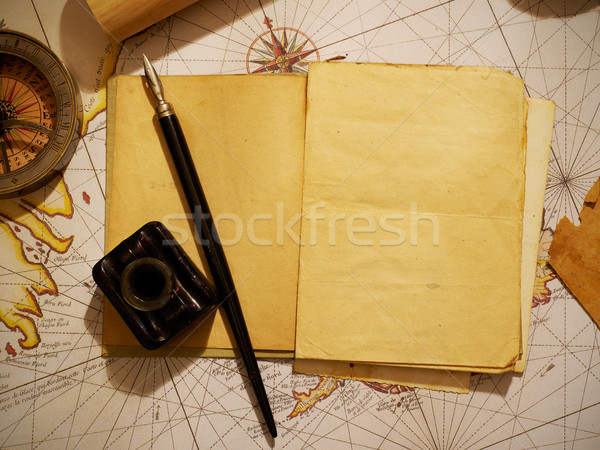 Ship's journal and navigational equipment Stock photo © goir