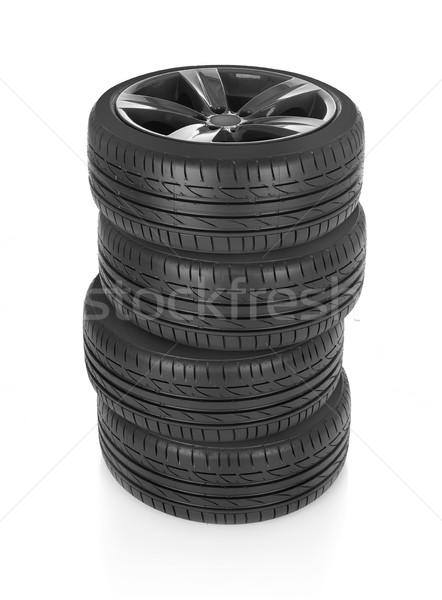 Tekerlekler araba yalıtılmış beyaz spor Stok fotoğraf © goir