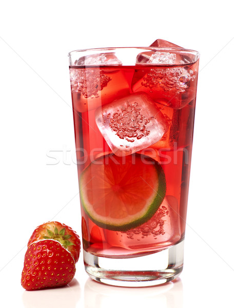 Aardbeien cocktail kalk geïsoleerd witte vruchten Stockfoto © goir