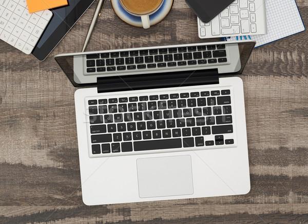 Laptop dolgozik asztal közvetlenül fölött kilátás Stock fotó © goir