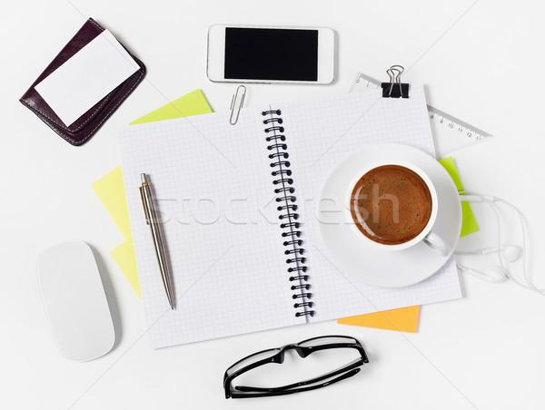 Notebook witte koffie pen Stockfoto © goir