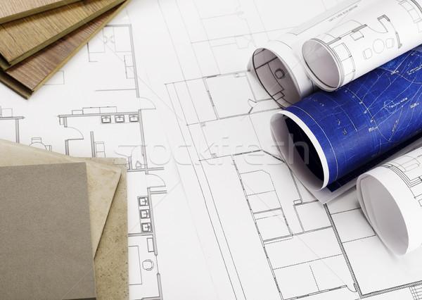 Plannen blauwdrukken bouwmaterialen kantoor potlood Stockfoto © goir
