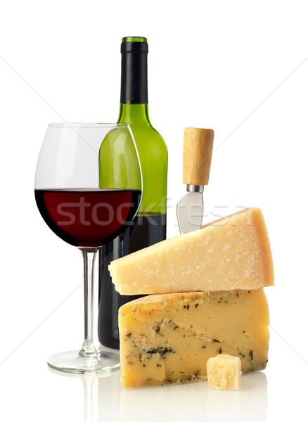 Vinho queijo isolado branco comida beber Foto stock © goir