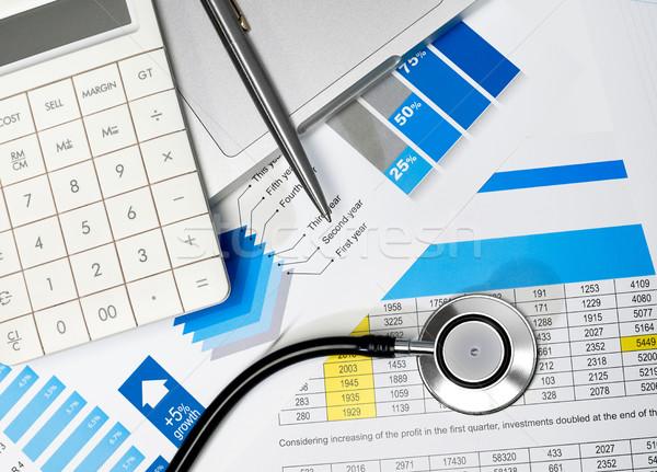 Photo stock: Santé · stéthoscope · simulateur · stylo · portable · affaires