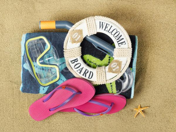 Photo stock: Bienvenue · plage · espace · de · copie · sable · soleil