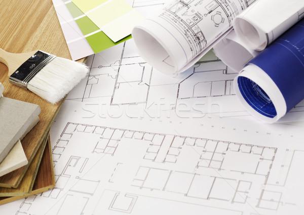 Planos blueprints materiais de construção escritório lápis Foto stock © goir