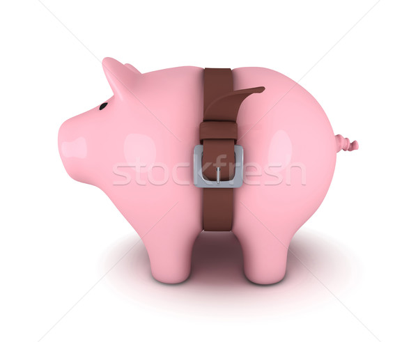 Piggy bank with belt tighten Stock photo © goir