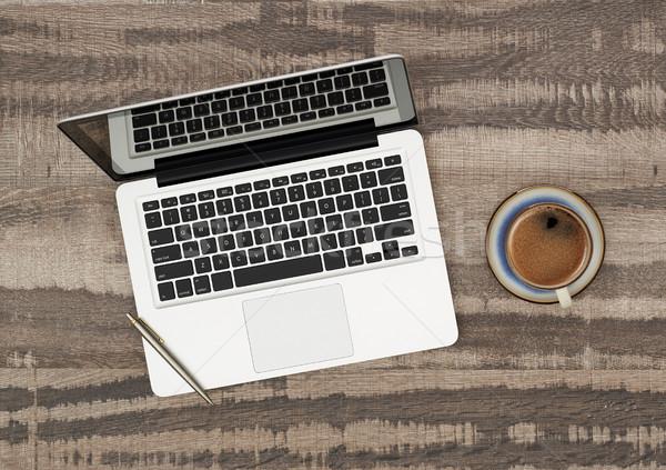 Laptop koffie rechtstreeks boven houten Stockfoto © goir