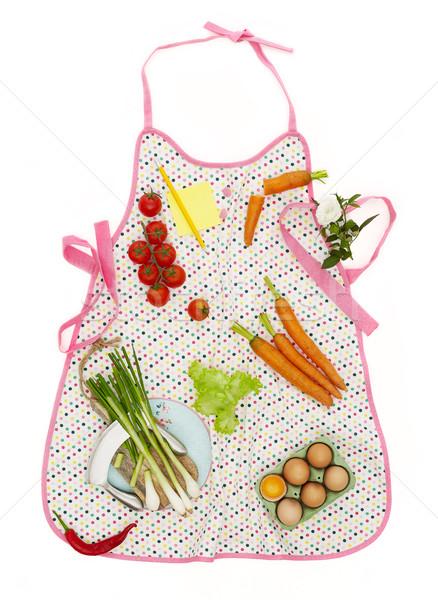 Kuchnia fartuch gotowania składniki biały żywności Zdjęcia stock © goir